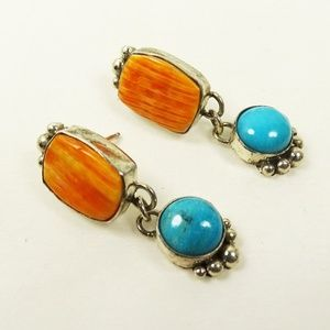 NATIVE AMERICAN SS Spiny Oyster Turquoise Earrings